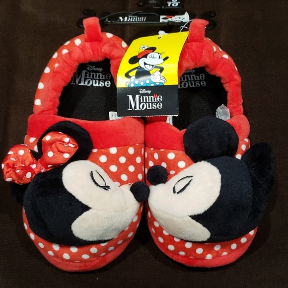 MINNIE MOUSE DISNEY Sock-Top Polka Dot Plush Slippers NWT Toddler Sz 7//8 or 9//10